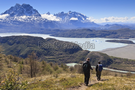 hikers descend a grassy slope with
