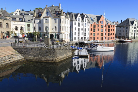 art nouveau buildings and reflections alesund