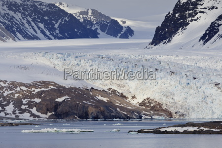 glacier backed by snowy mountains near