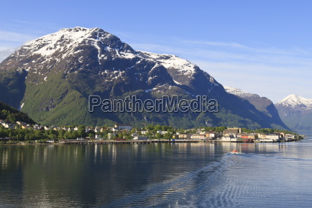 snow capped mountains of andalsnes in