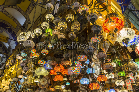 many hanging and lit colourful and