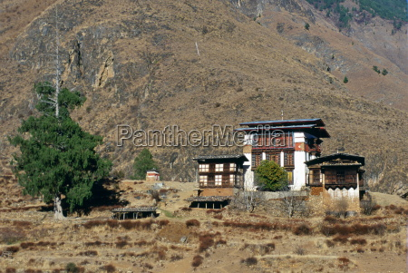 traditional chalet style housing in bhutan