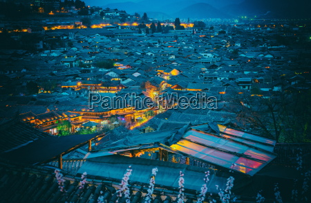 blue hour shot over roofs of