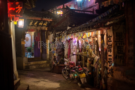 alley at night with tibetan style