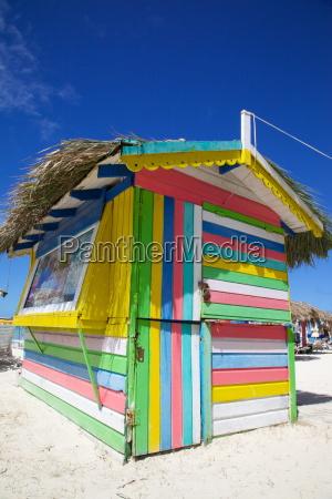 beach and colourful beach hut dickenson