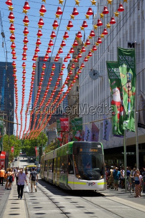 city tram at christmas melbourne victoria