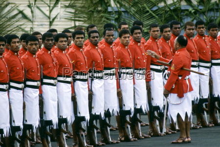 fijian soldiers standing to attention during