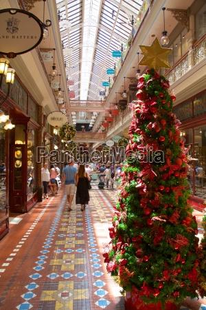the strand arcade interior at christmas