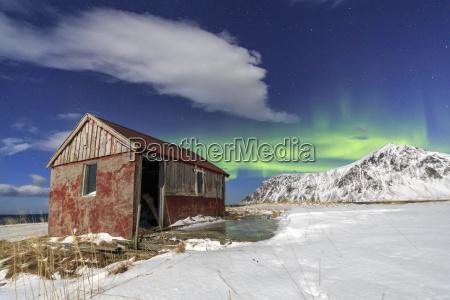northern lights aurora borealis over an