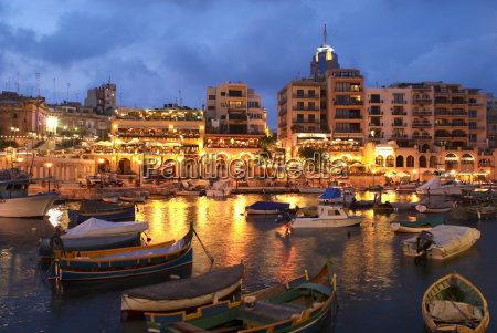 evening across spinola bay with restaurants