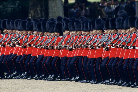 soldiers parading during trooping the colour