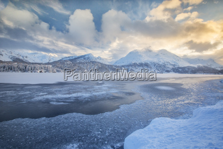 the shore of the frozen lake