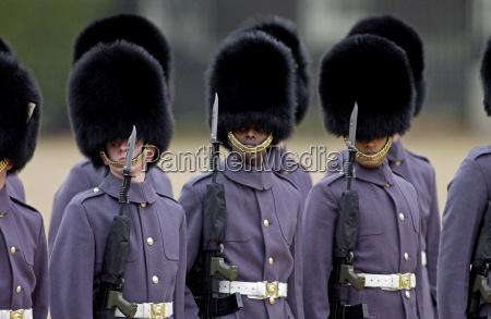 guard of honour wearing bearskins lining