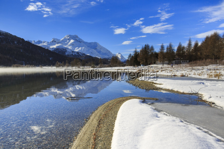 snowy peaks are reflected in lake