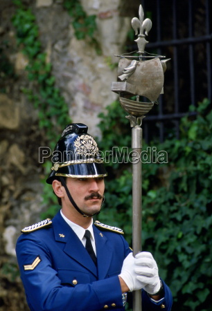 policeman on ceremonial duty in portugal