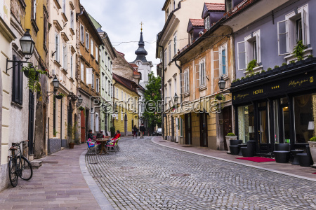 cobbled street ljubljana slovenia europe