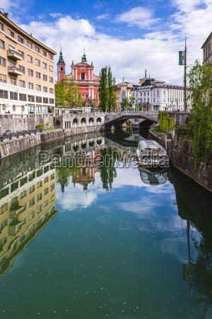 ljubljana triple bridge tromostovje and franciscan
