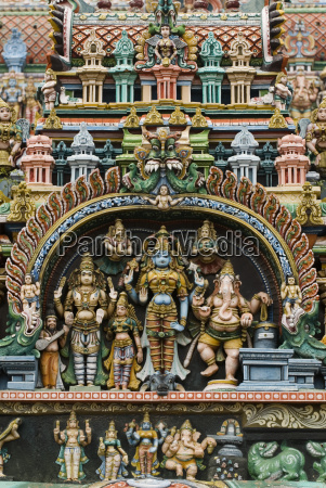 detail of hindu carvings sri meenakshi