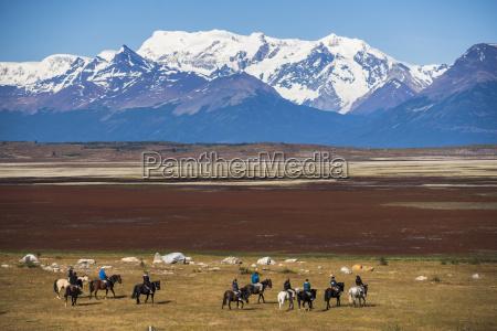 horse trek on an estancia farm