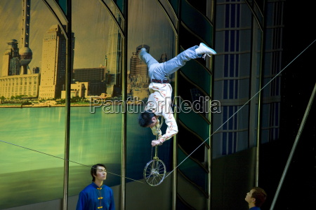 shanghai acrobatic group perform a balancing