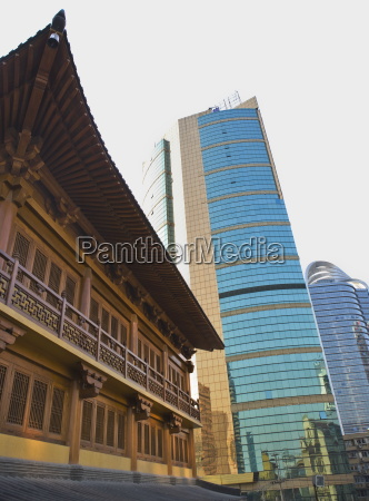traditional chinese wooden architecture next to