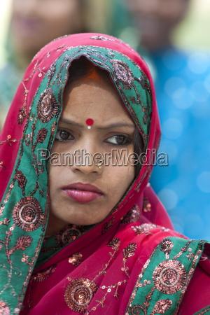 hindu pilgrim with bindi dot and