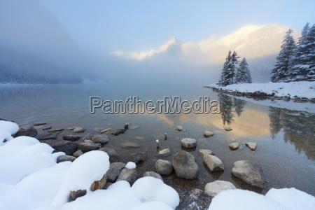 foggy suise at lake louise banff