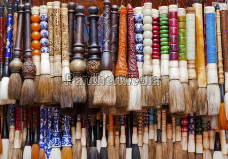 chinese calligraphy brushes with colorful handcarved