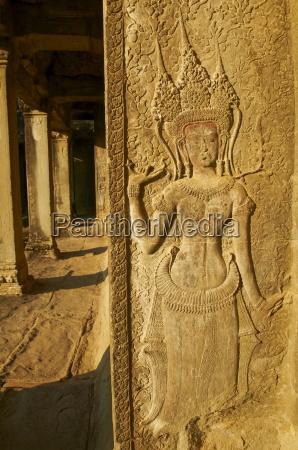 relief sculpture of apsara heavenly dancer
