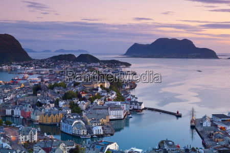 elevated view over alesund illuminated at
