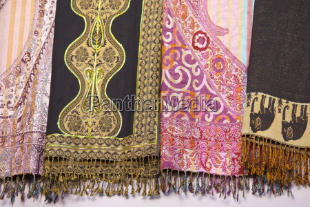 traditional muslim garments on display at