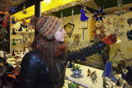 young woman at the christmas fair