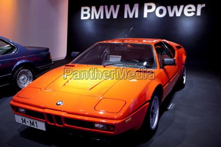 bmw m1 sports car on display