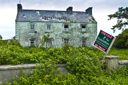derelict period house with for