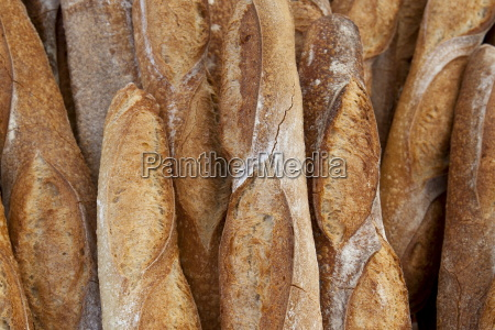freshly baked french bread baguettes on