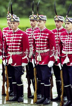 soldiers in ceremonial uniform take part