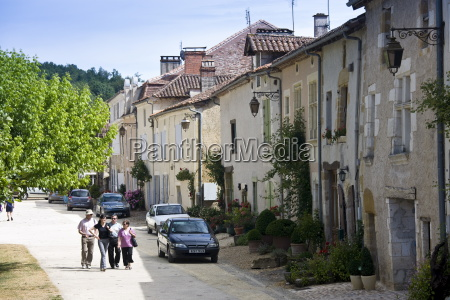 tourists in historic town of st
