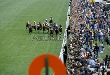 crowds of spectactors by winning post