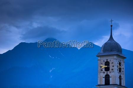 nighttime scene of traditional church in