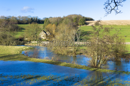 flooded fields as the river windrush