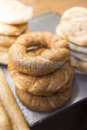 traditional bread simit turkish sesame seed