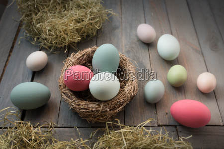 decoration with colorful easter eggs