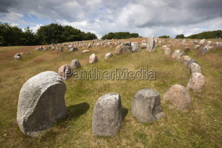 viking burial ground with stones placed