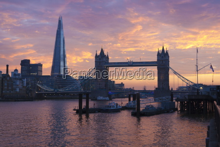 the shard and tower bridge on