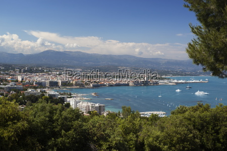 view over town and bay from