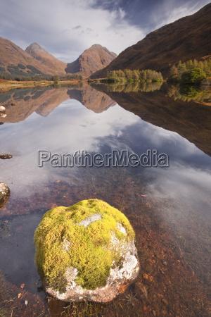 mountains reflected in lochan urr in