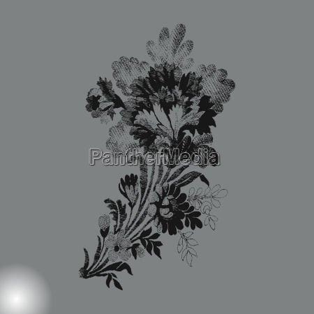 hand drawn branch with flowers on