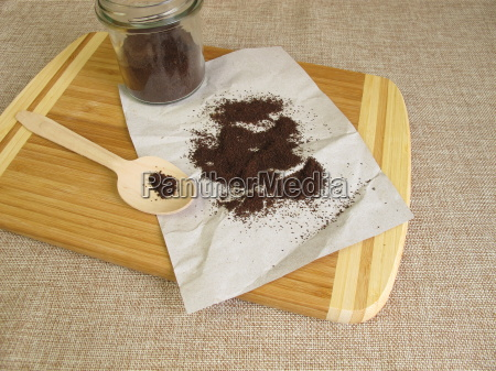 dried coffee grounds for a peeling