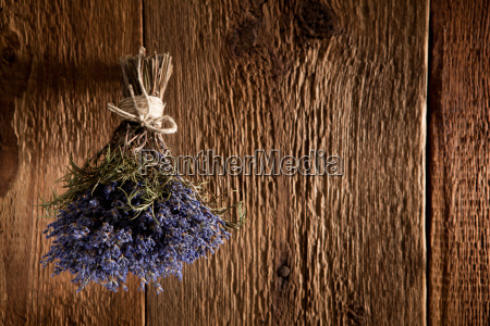 a bouquet of lavender hangs on