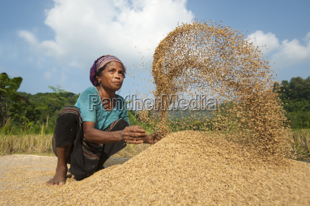 a woman throws rice up into